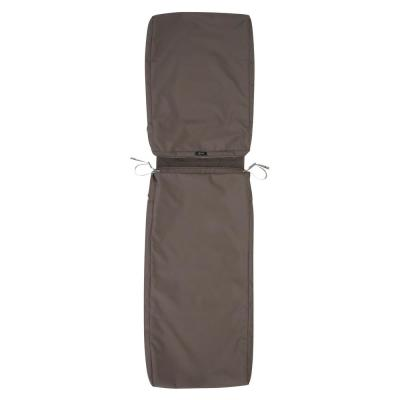 Ravenna Water-Resistant 72 in. x 21 in. x 3 in. Patio Chaise Lounge Cushion Slip Cover, Dark Taupe