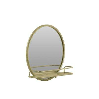 24 in. x 24 in. Metal Wall Shelf  Round Champagne Coated Mirror