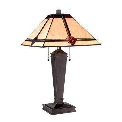 25 in. Bronze Table Lamp with Amber Tiffany