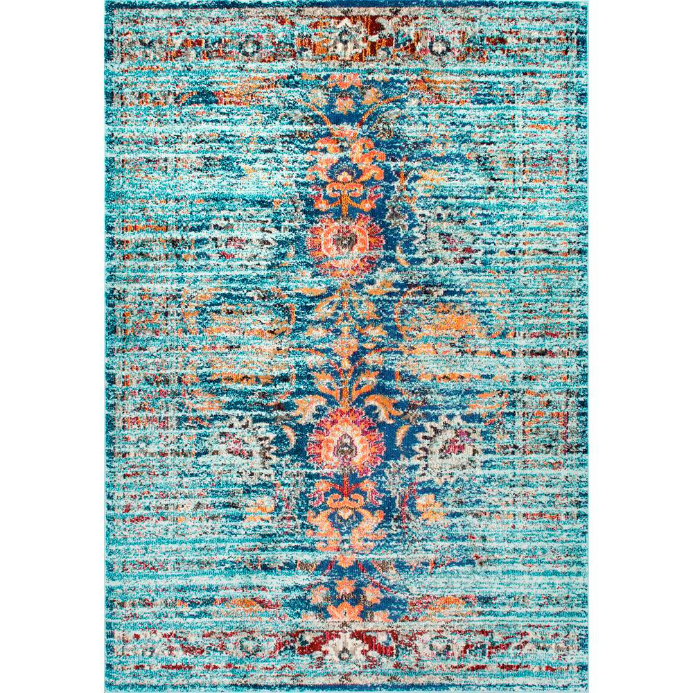 nuLOOM Floral Mallory Aqua (Blue) 7 ft. 10 in. x 11 ft. A...