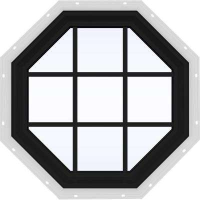 36 in. x 36 in. V-2500 Series Bronze FiniShield Vinyl Fixed Octagon Geometric Window with Colonial Grids/Grilles