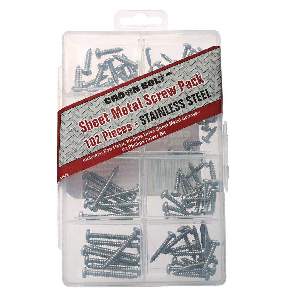 Stainless-Steel Sheet Metal Screw Assortment Kit (102-Piece per Pack)