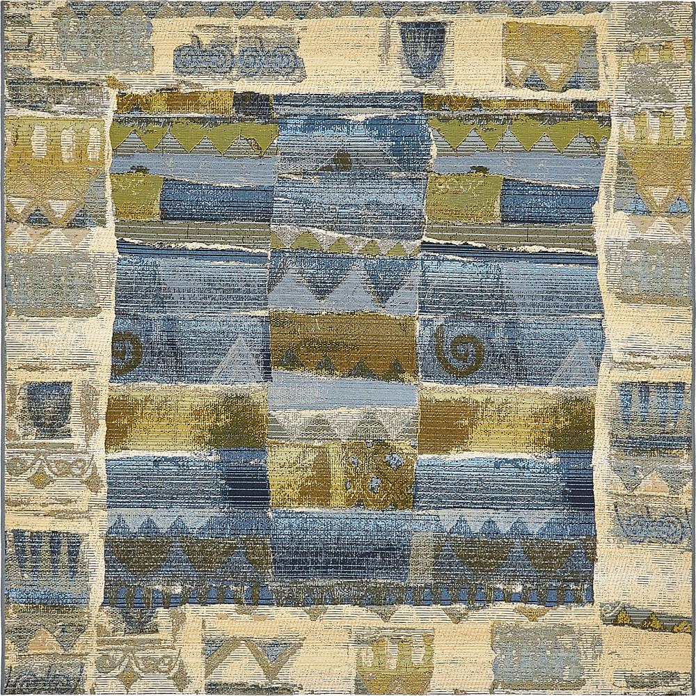 Outdoor Modern Blue 6' x 6' Square Rug
