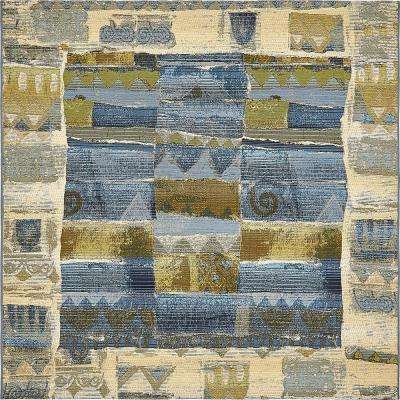 Outdoor Glyph Blue 6' 0 x 6' 0 Square Rug