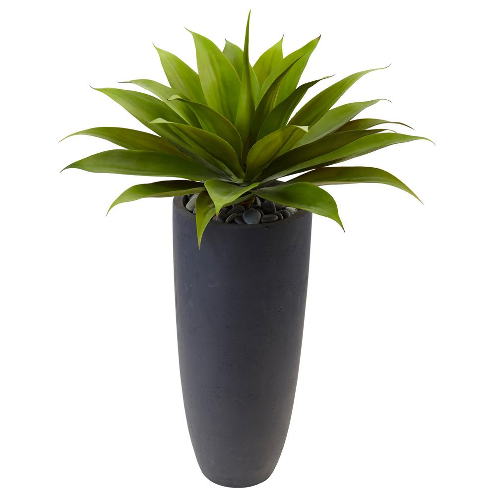 Indoor 38 in. H Agave Artificial Plant in Gray Cylinder Planter