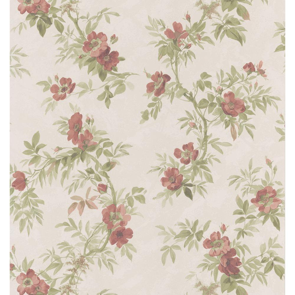 Brewster 56 sq. ft. Wild Rose Wallpaper