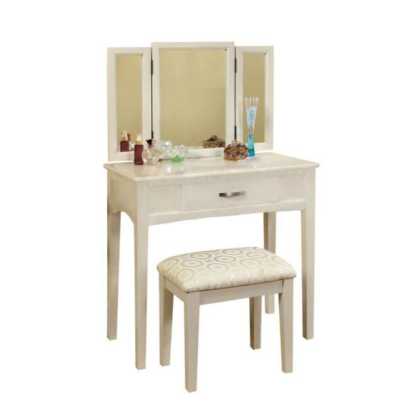White Transitional Vanity Table with Stool