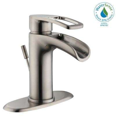 Kiso 4 in. Centerset Single-Handle Low-Arc Bathroom Faucet in Brushed Nickel