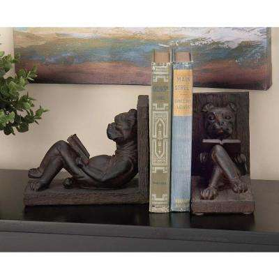 Mahogany Brown Polystone Reading Dog Bookends (Set of 2)
