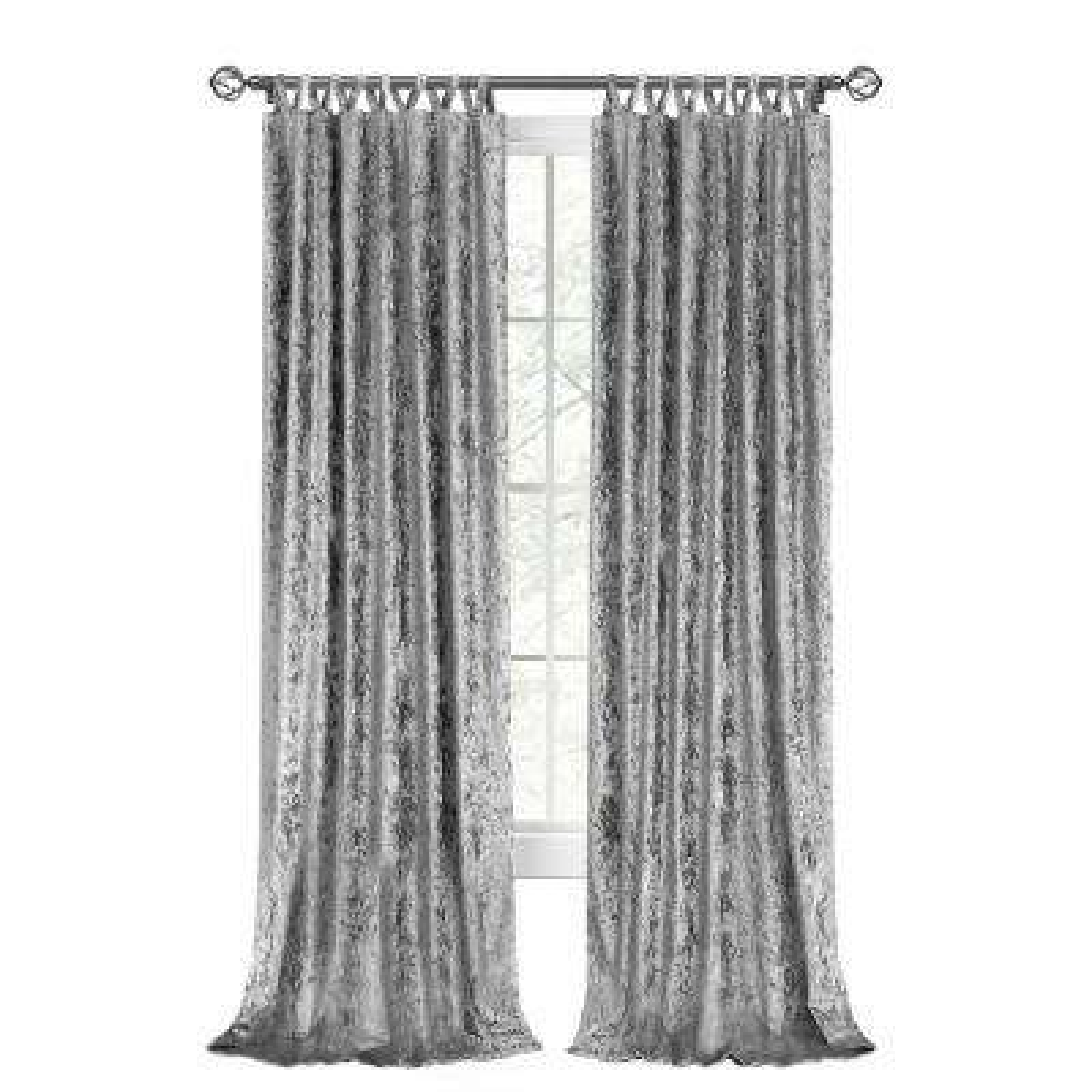 Harper 50 in. W x 84 in. L Criss Cross Tab Top Curtain Panel in Grey