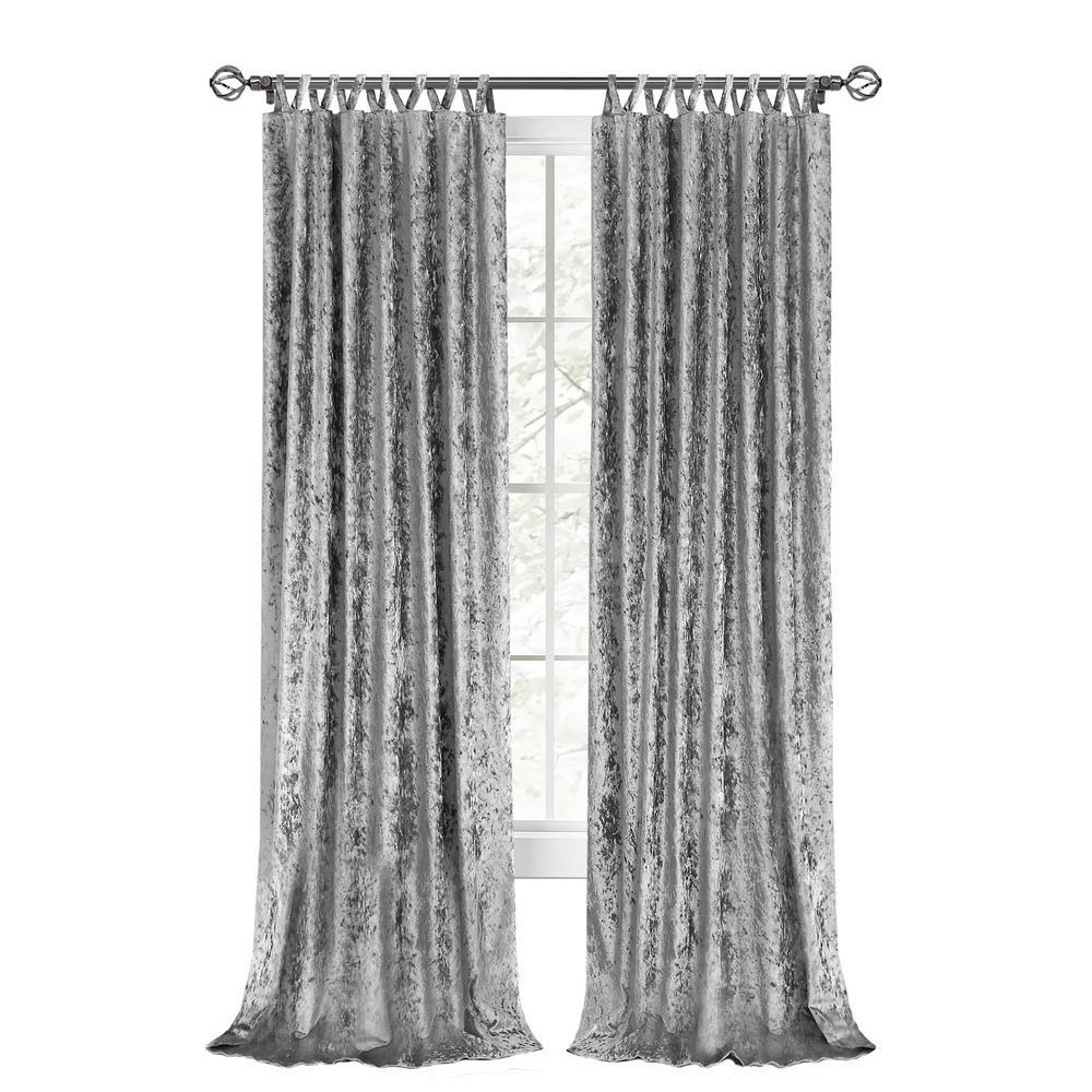 Harper 50 in. W x 63 in. L Criss Cross Tab Top Curtain Panel in Grey