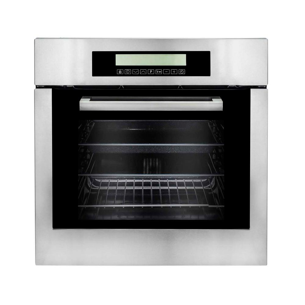 Cosmo 24 in. 2 cu. ft. Single Electric Wall Oven w/10 Functions True European Convection and Self-Cleaning in Stainless Steel (Silver)