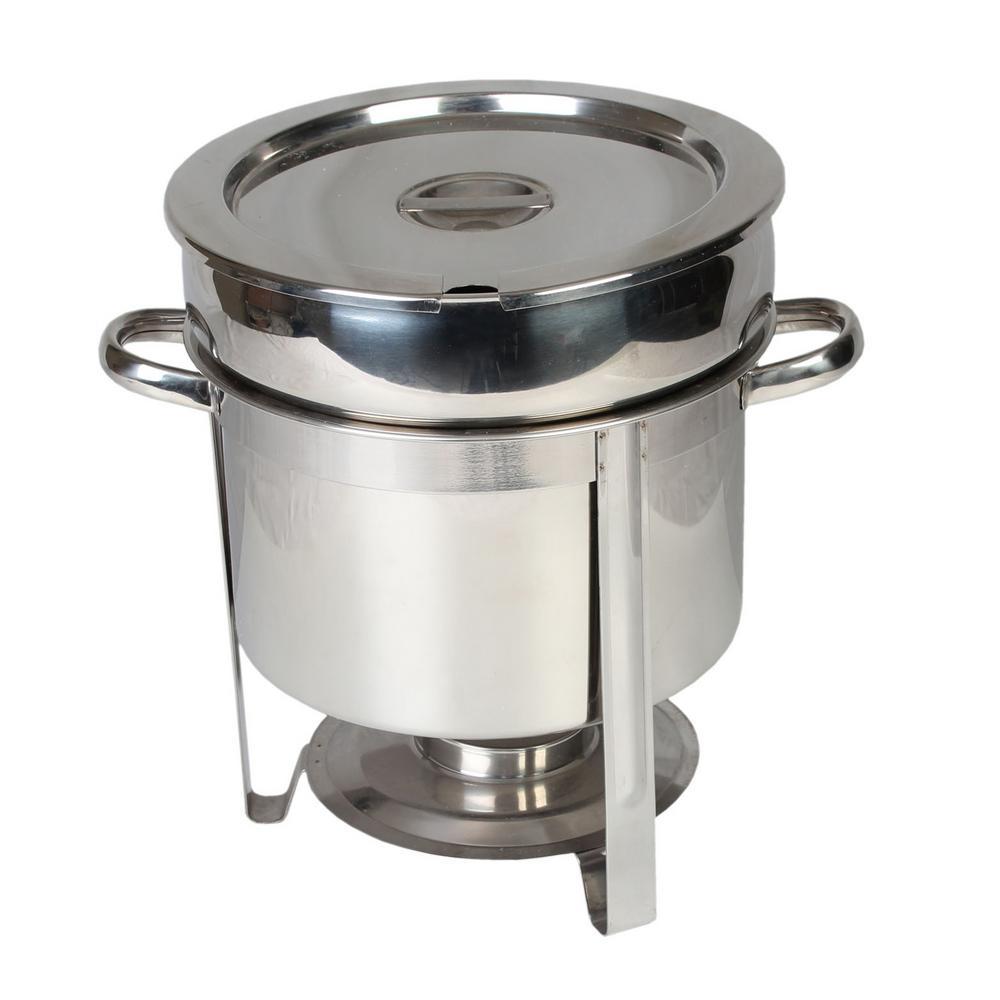Restaurant Essentials Stainless Steel 11 Qt. Round Marmite Chafer 849851005945