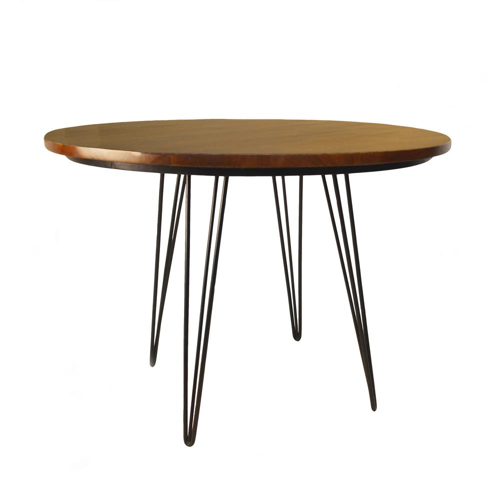 42 In X Griffith Elm And Black Bent Iron Leg Dining Table