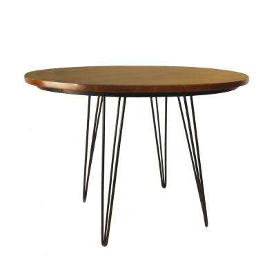 42 in x 42 in Griffith Elm and Black Bent Iron Leg Dining Table