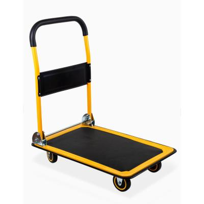 35.85 in. x 24 in. x 34.25 in. 660 lbs. Weight Capacity Foldable Platform Truck Push Dolly with Swivel Wheels - Steel