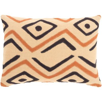 Boadicea Light Orange Graphic Polyester 19 in. x 19 in. Throw Pillow