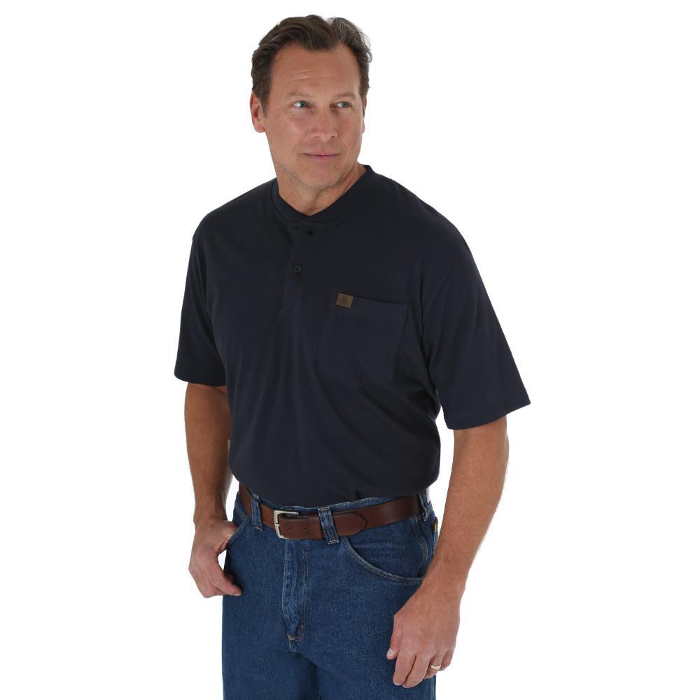 Men's Size Large Navy Short Sleeve Henley Shirt