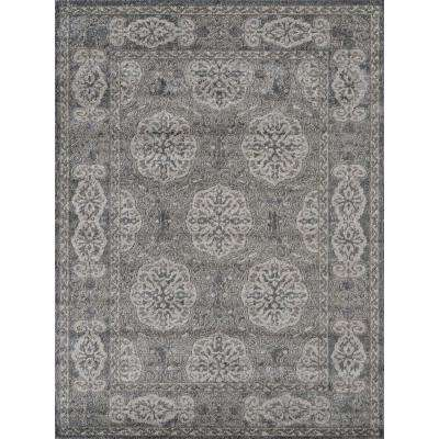 Alexis Brown-Grey Bordered 6 ft. 7 in. x 6 ft. 7 in. Round Rug