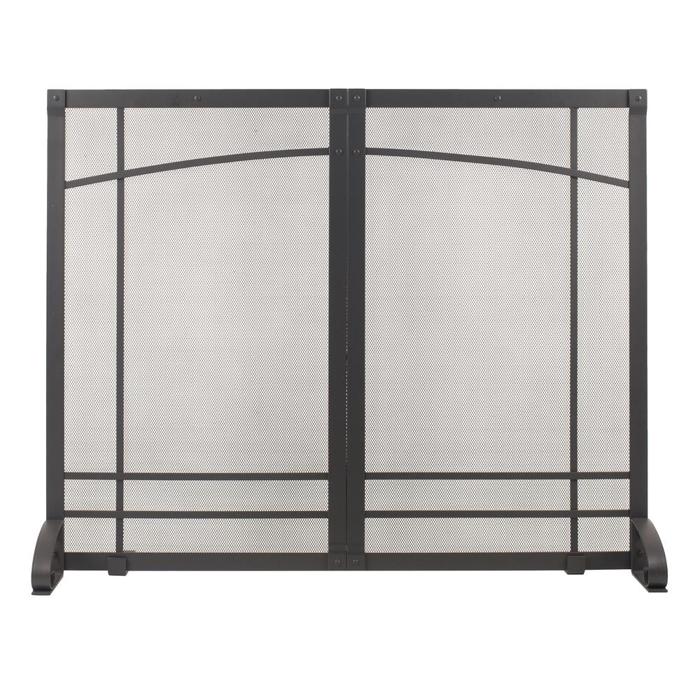 Pleasant Hearth Amherst Iron Black Steel Single-Panel Fireplace Screen