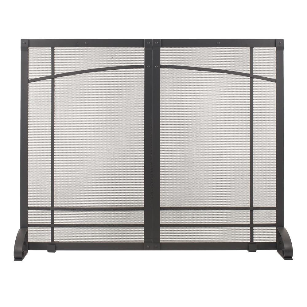 Amherst Iron Black Steel Single-Panel Fireplace Screen