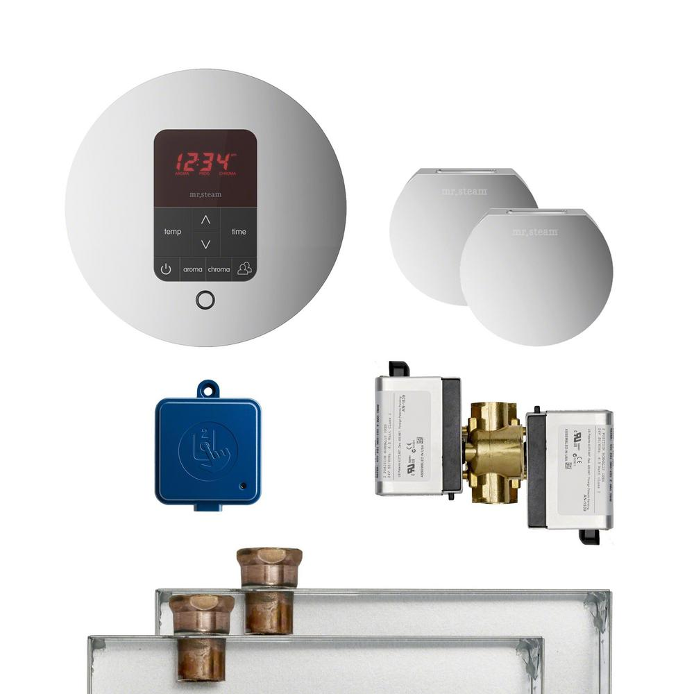 Mr Steam Butler Package with iTempo Plus Round Programmable Control for Steam Bath Generator in Polished Chrome