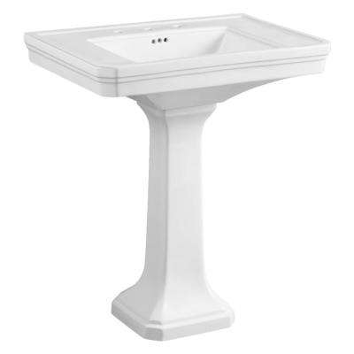 Victorian Pedestal Combo Bathroom Sink in White with 8 in. Widespread