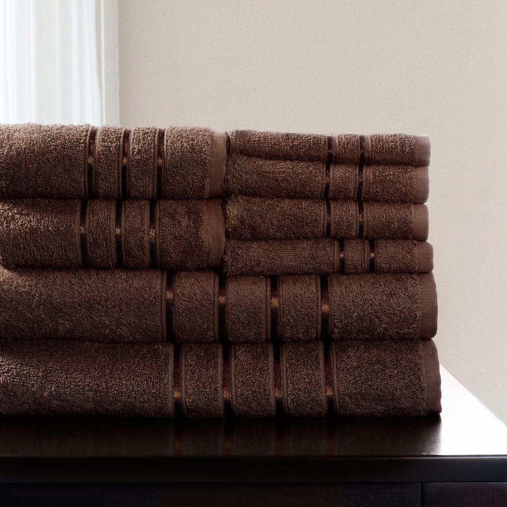 100% Cotton Bath Towel Set in Chocolate (8-Piece)