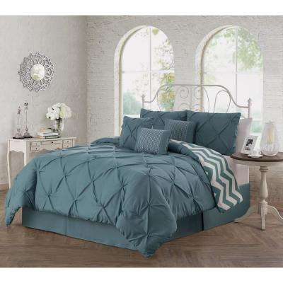 Ella 7-Piece Smoke Blue Queen Comforter Set