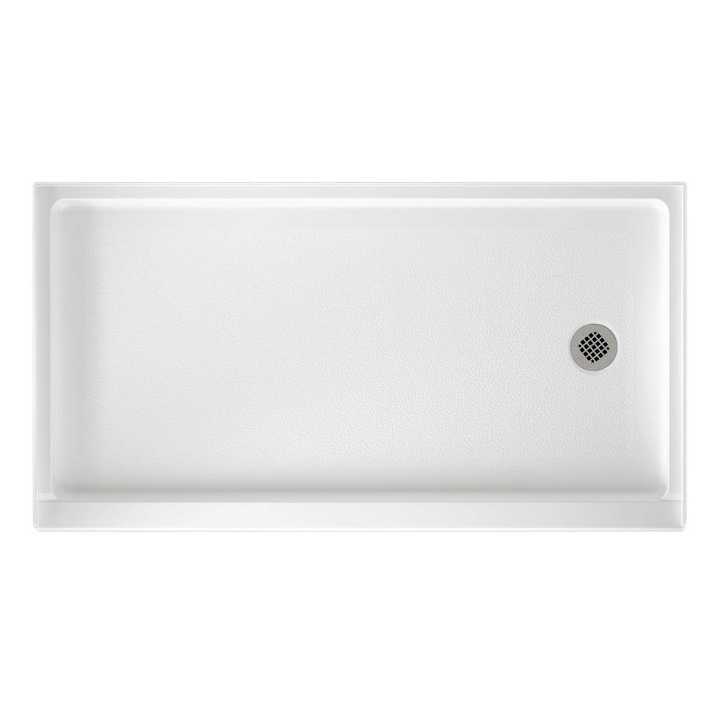Swan 32 in. x 60 in. Solid Surface Single Threshold Retrofit Right