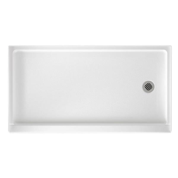 32 in. x 60 in. Solid Surface Single Threshold Retrofit Right Drain Shower Pan in White