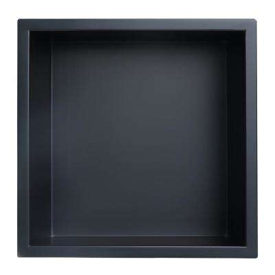 Showroom Series 12 in. x 12 in. Stainless Steel Shower Niche in Matte Black