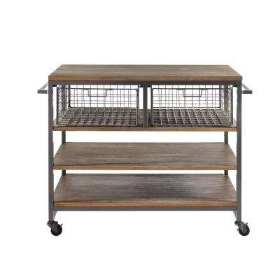 Barnside Metro Gray Kitchen Cart
