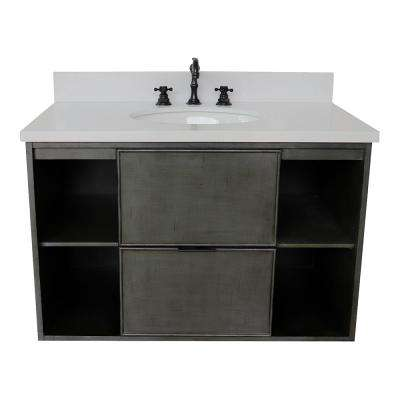 Scandi III 37 in. W x 22 in. D Wall Mount Bath Vanity in Gray with Quartz Vanity Top in White with White Oval Basin