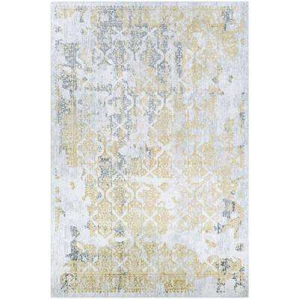 Calinda Grand Damask Gold-Silver-Ivory 5 ft. x 8 ft. Area Rug