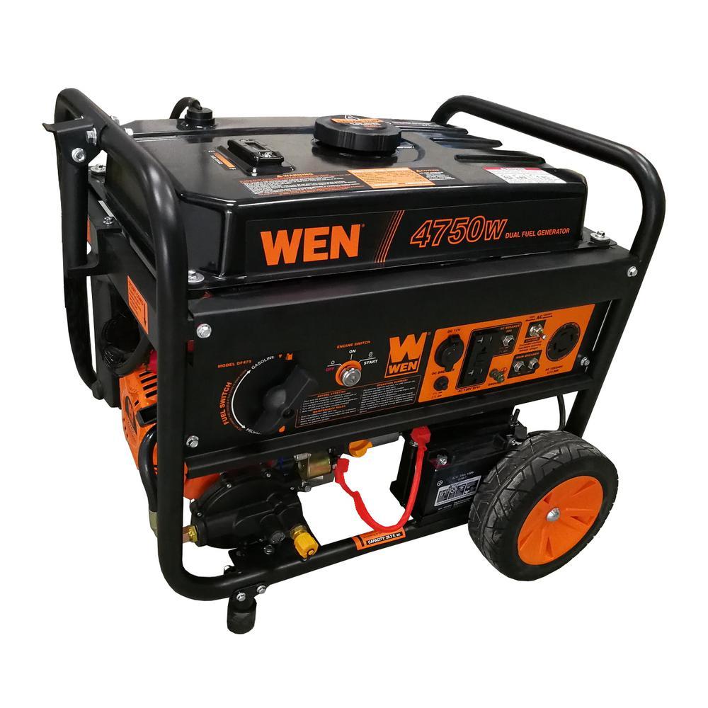 3,800-Watt 120-Volt/240-Volt Dual Fuel Gasoline and Propane Powered Electric Start Portable Generator with Wheel Kit