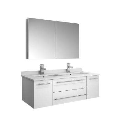 Lucera 48 in. W Wall Hung Vanity in White with Quartz Double Sink Vanity Top in White with White Basins,Medicine Cabinet