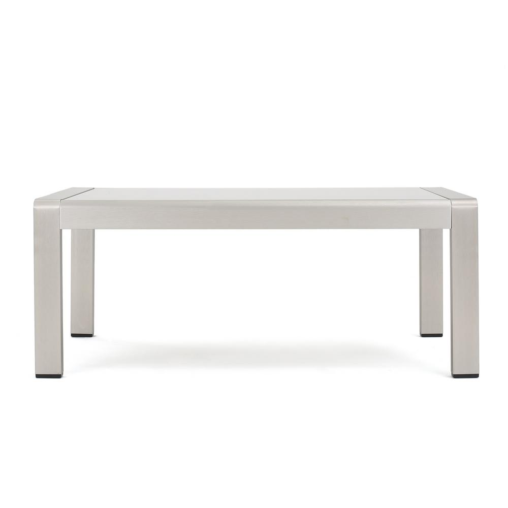 Noble House Silver Rectangular Aluminum Outdoor Coffee Table with Glass Top