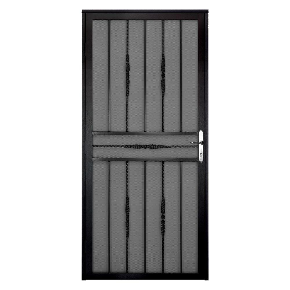 Unique Home Designs 36 in. x 80 in. Cottage Rose Black Left-Hand Recessed Mount  Door with Expanded Metal Screen and Nickel -DISCONTINUED
