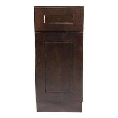 Ready to Assemble 15x24x34-1/2 in. Brookings Shaker Style 1-Door 1-Drawer Base Cabinet in Espresso