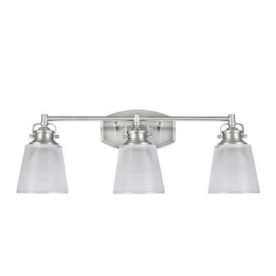 3-Light Brushed Nickel Vanity Light with Clear Glass Shade