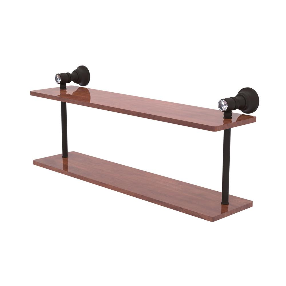 Allied Brass Carolina Crystal 22 In 2 Tiered Wood Shelf In Oil Rubbed Bronze Cc 2 22 Irw Orb The Home Depot