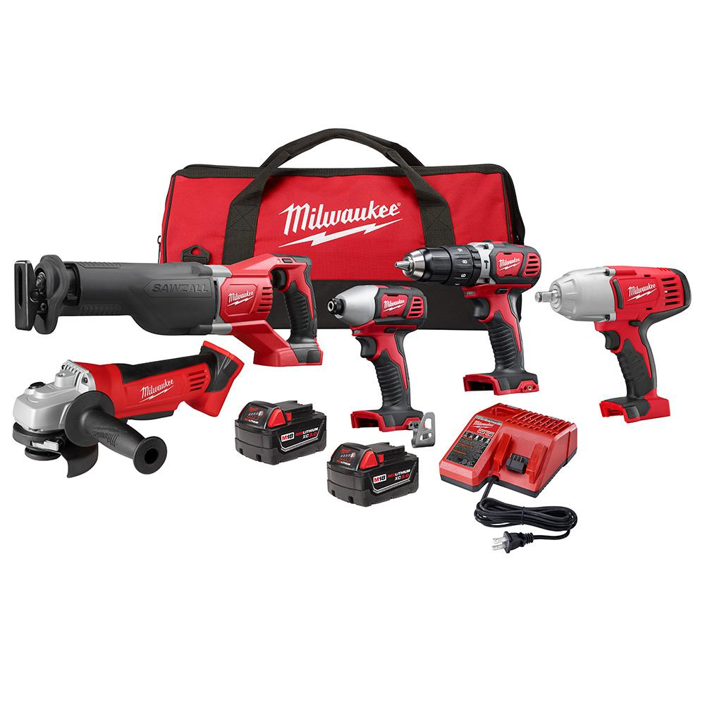 M18 18-Volt Lithium-Ion Cordless Combo Tool Kit (5-Tool) with Two 3.0 Ah Batteries, Charger and Tool Bag