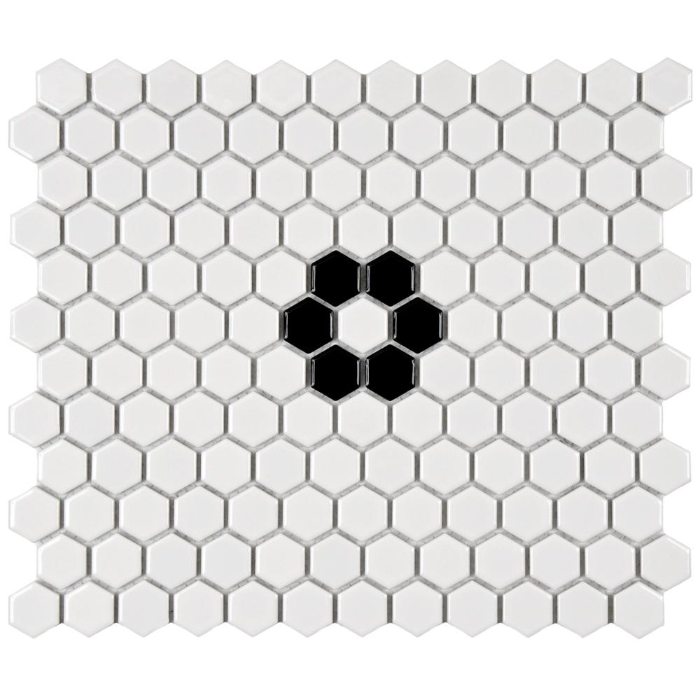 Merola Tile Metro Hex Glossy White with Single Flower 10-1/4 in. x ...