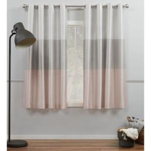 Chateau Blush Light Filtering Grommet Top Curtain Panel 54 in. W x 63 in. L (2 Panels)