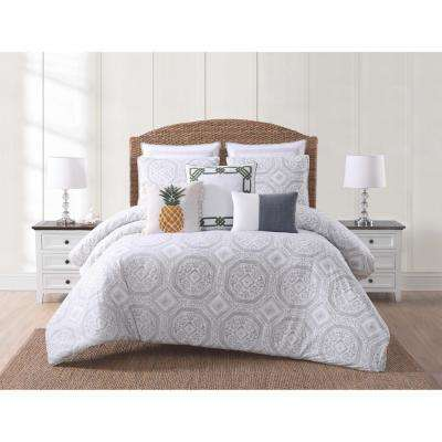 Sunwashed Isle White and Gray King Comforter with 2-Shams