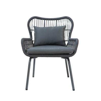 Joshua Dark Gray Stationary Metal Outdoor Lounge Chair with Gray Cushions (2-Pack)