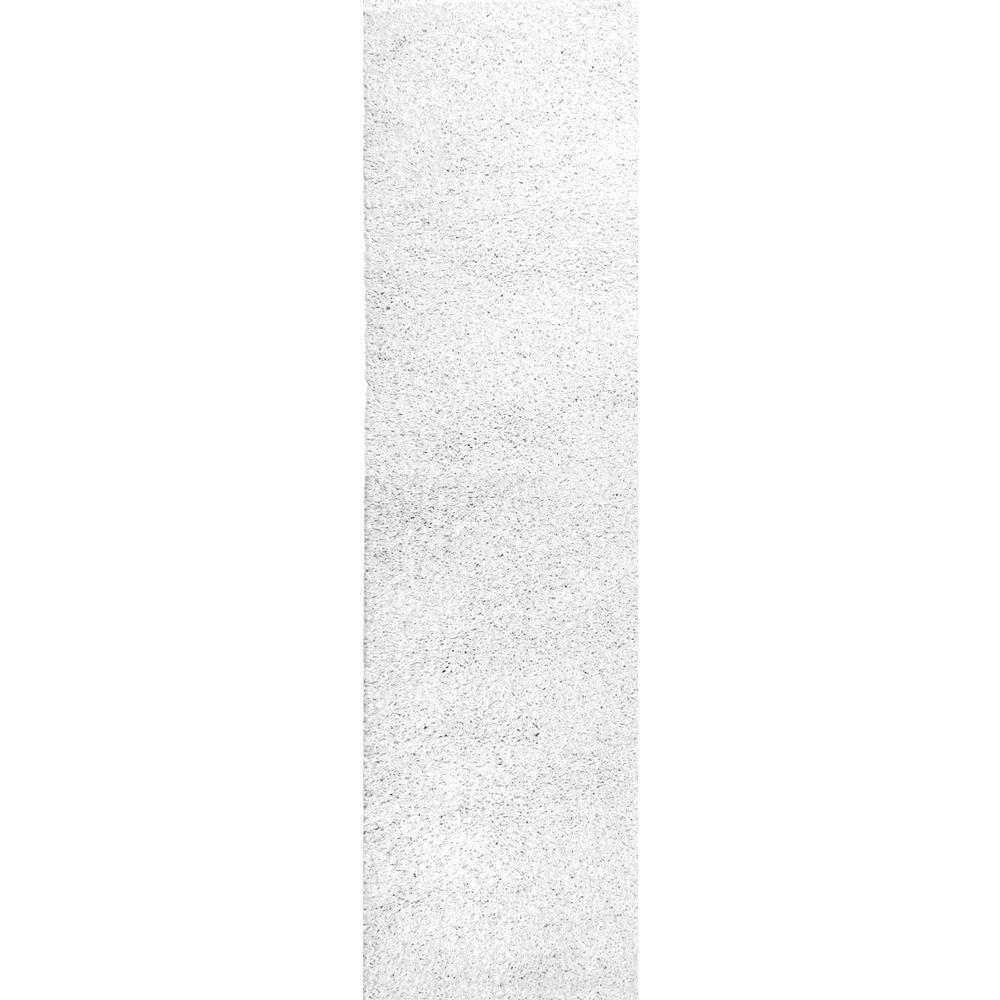Arden Homely Shag White 3 ft. x 8 ft. Runner Rug