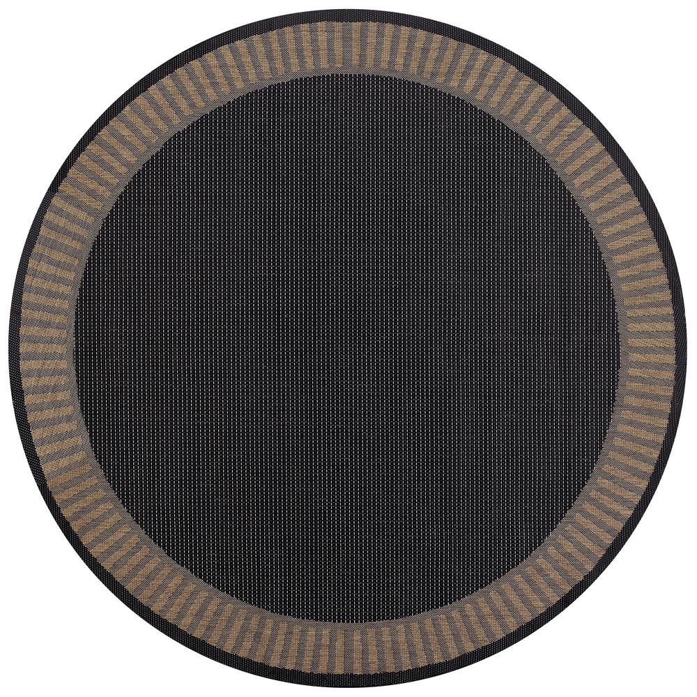 Recife Wicker Stitch Black-Cocoa 9 ft. x 9 ft. Round Indoor/Outdoor