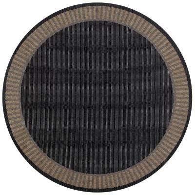 Recife Wicker Stitch Black-Cocoa 9 ft. x 9 ft. Round Indoor/Outdoor Area Rug